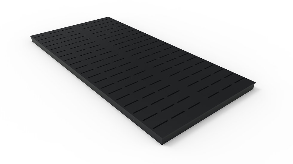 "50"" wide ADA/Heel Proof black powder coated steel slotted trench drain grate"