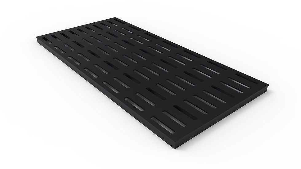 "50"" wide black powder coated steel slotted grate"