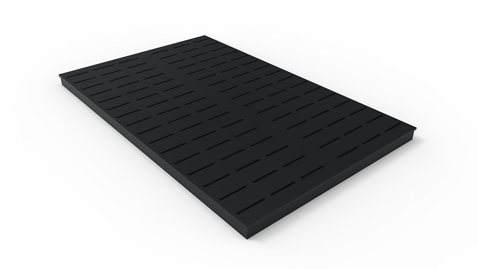 "38"" wide ADA/Heel Proof black powder coated steel slotted trench drain grate"