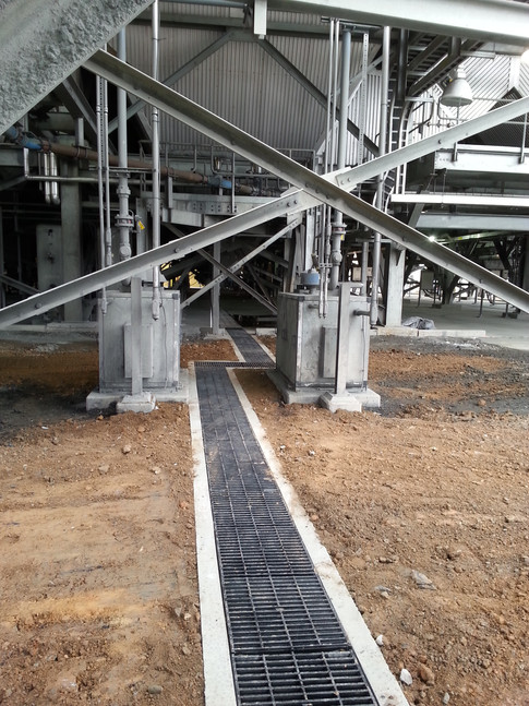 Industrial trench drain system at power plant