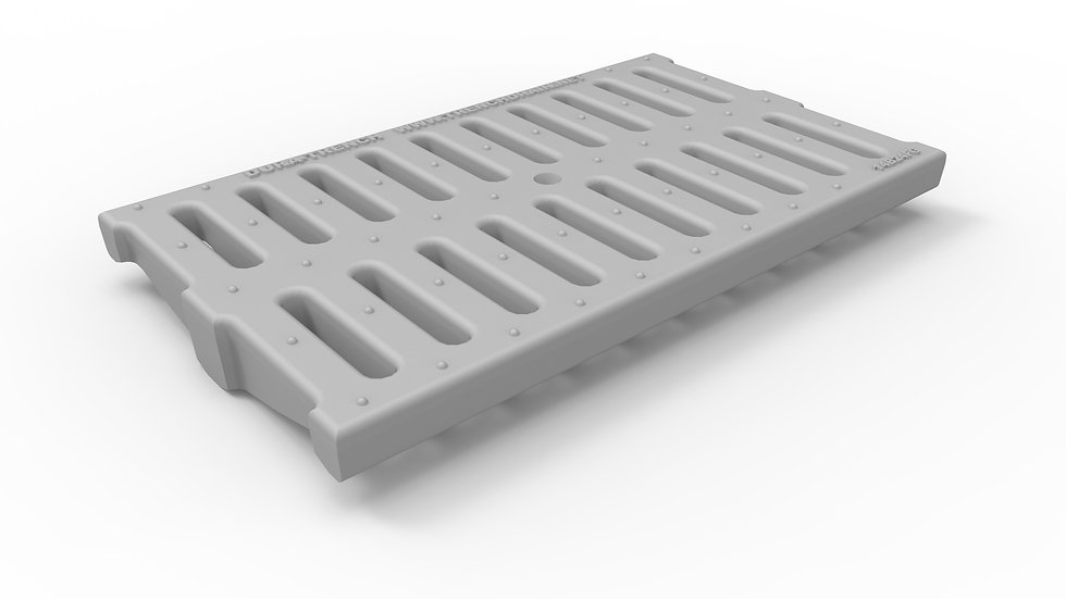 """14"""" wide FRP slotted trench drain grate"""