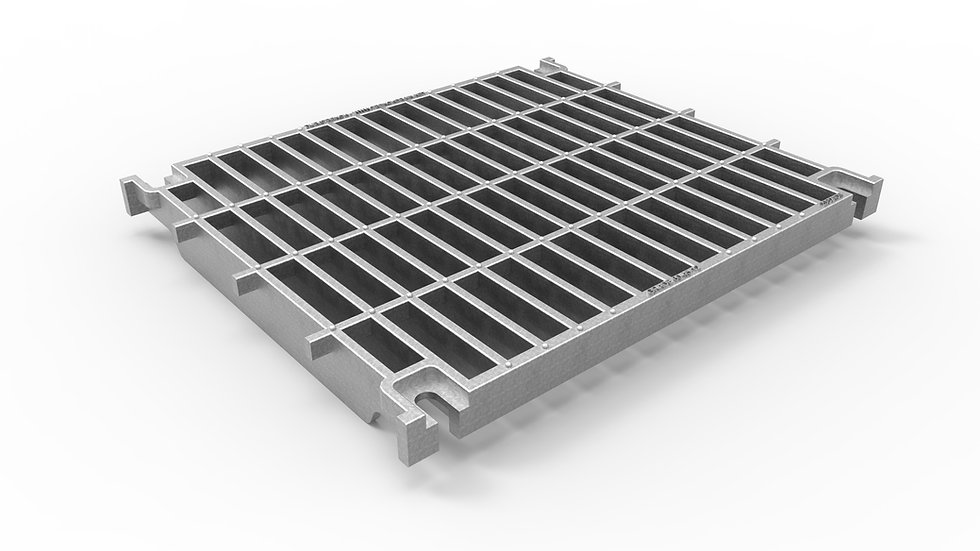 "20"" wide galvanized iron slotted trench drain grate"