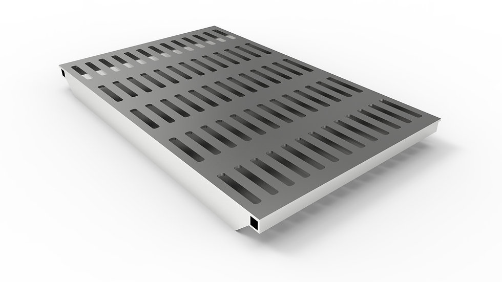 "38"" wide stainless steel slotted trench drain grate"