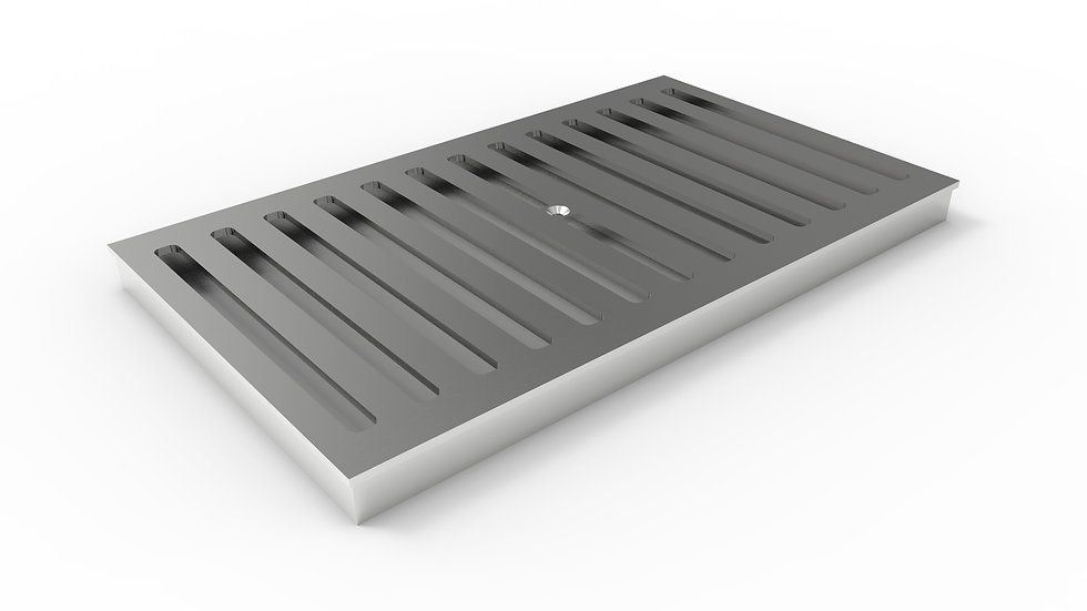 "14"" wide stainless steel slotted trench drain grate"
