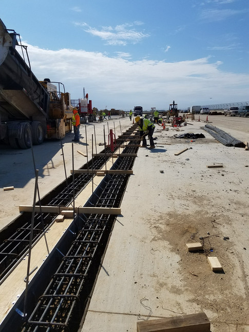 Trench drain system at DFW Airport Hardstand