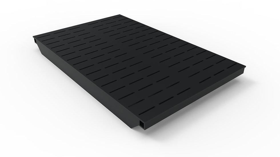 "38"" wide ADA/Heel Proof black powder coated steel slotted trench drain grate"