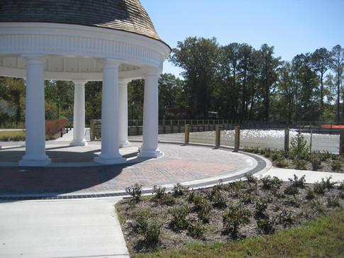 Radius trench drain system around park pavilion