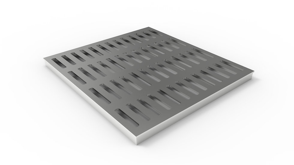 "26"" wide stainless steel slotted trench drain grate"