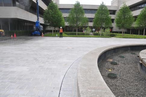 Fountain slot drain in plaza