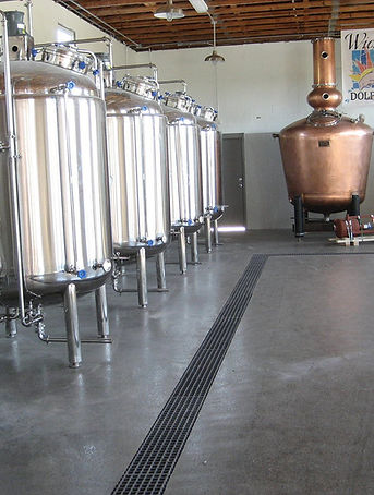 Fiberglass trench drain grate in distillery