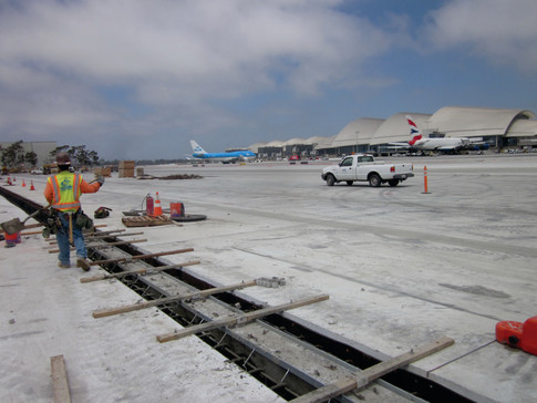 Trench drains at Los Angeles LAX airport