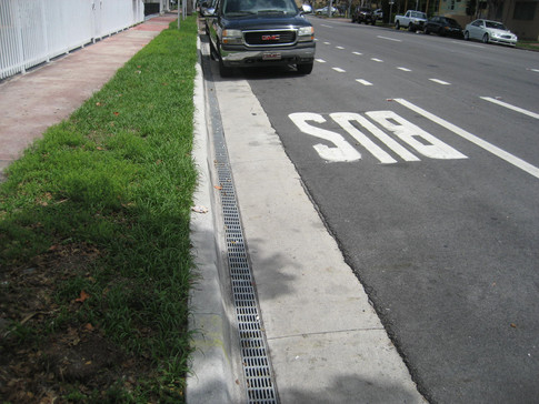 Bus stop trench drains