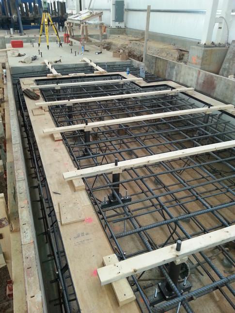 Trench drain in machine foundation