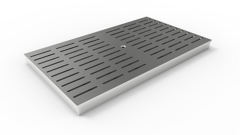 """14"""" wide ADA/Heel proof stainless steel slotted trench drain grate"""