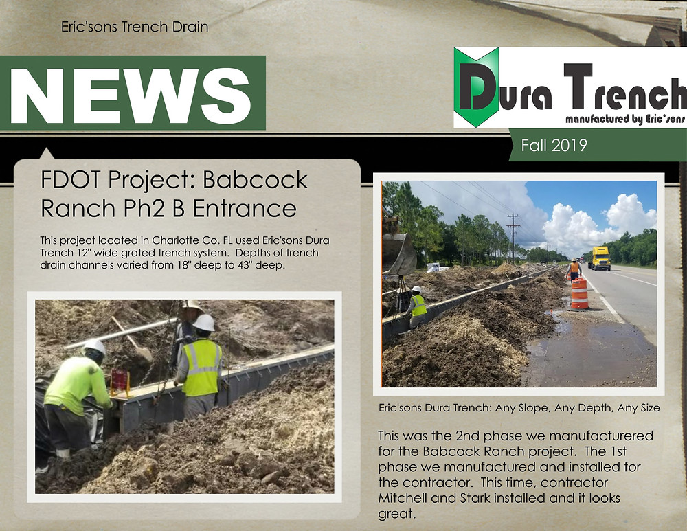 Florida DOT trench drain installation