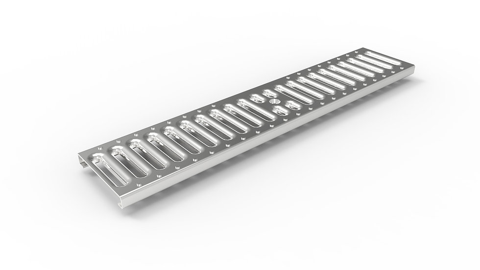 "5"" wide stamped stainless steel slotted trench drain grate"