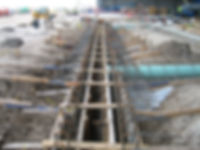 Poured in place concrete trench drain forms ready for concrete