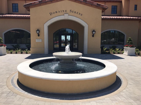 Winery fountain with radius trench drain
