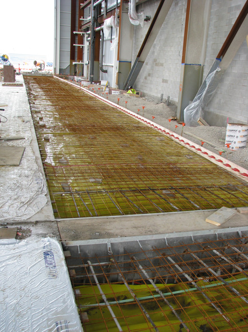 Trench drains and utility trenches at American Airlines Maintenance Hangar