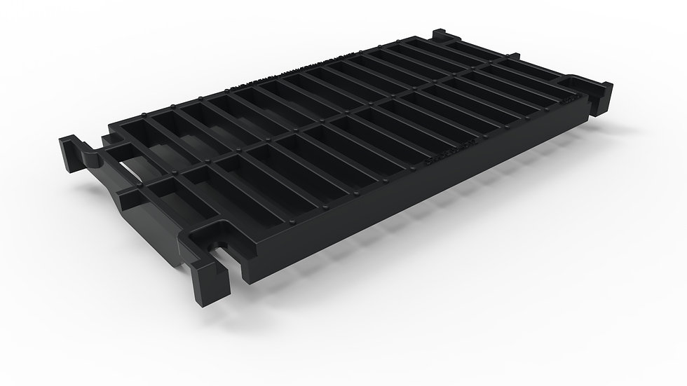 "12"" wide black iron slotted trench drain grate"