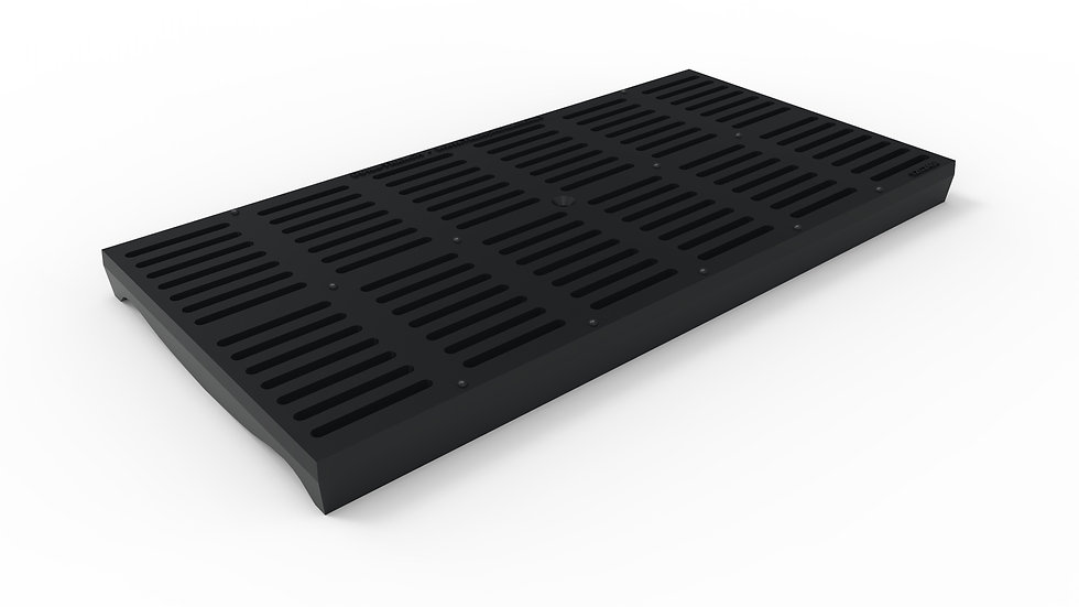 "12"" wide ADA/Heel Proof ductile iron slotted trench drain grate"