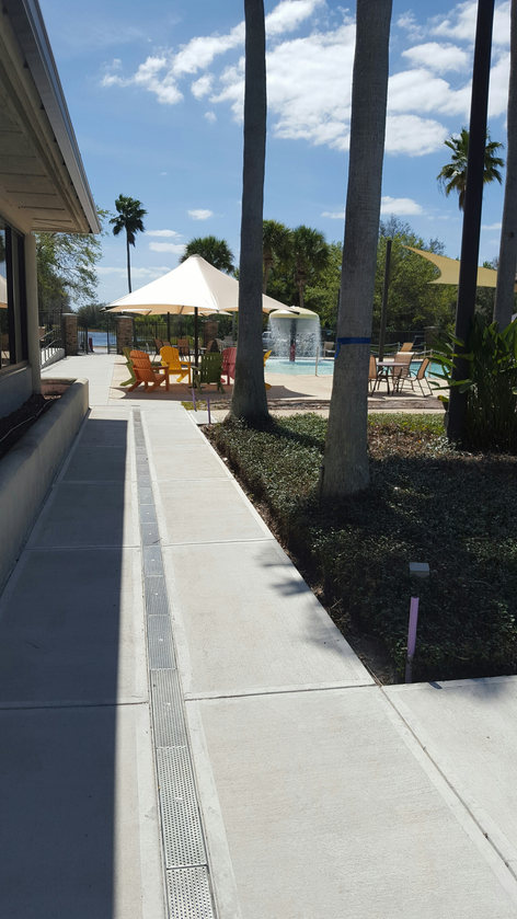 Resort Swimming Pool trench drain system