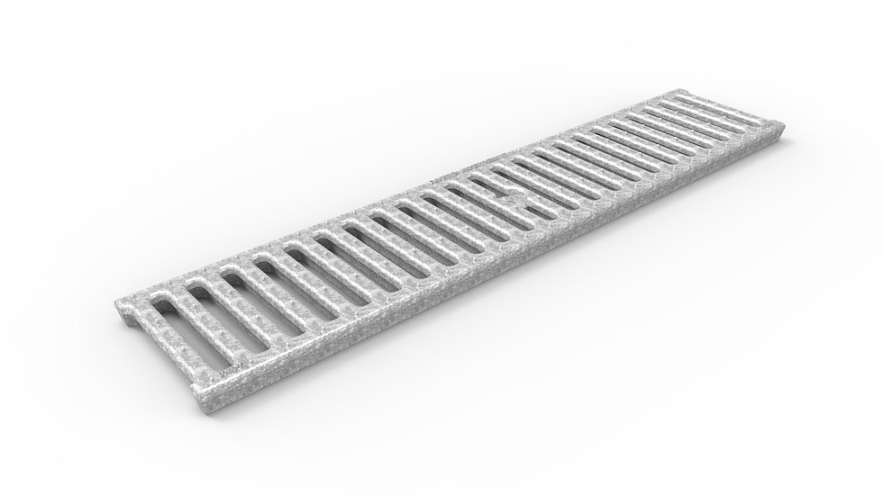 """5"""" wide slotted galvanized iron trench drain grate"""
