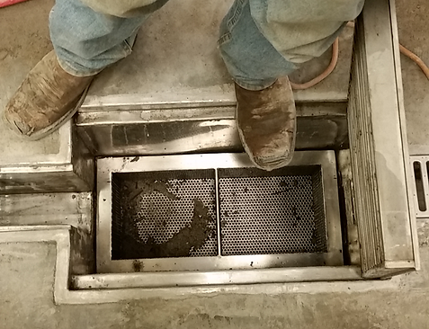 SS trench basin with trash basket