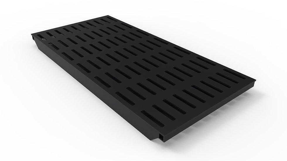 "50"" wide black powder coated steel slotted trench drain grate"