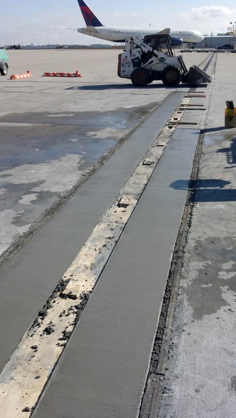 Trench drain construction at Hartsfield Jackson Airport in Atlanta, GA