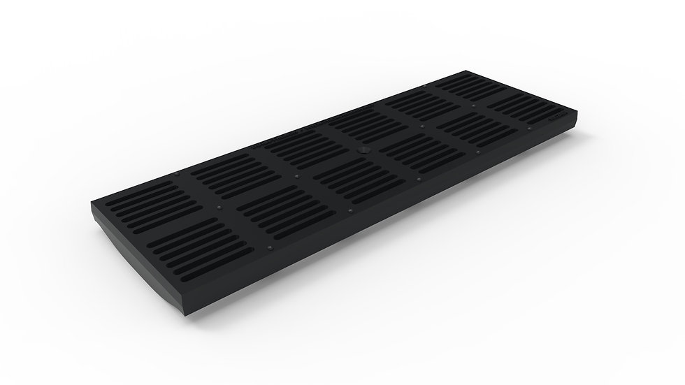 "8"" wide ADA/Heel Proof ductile iron slotted trench drain grate"