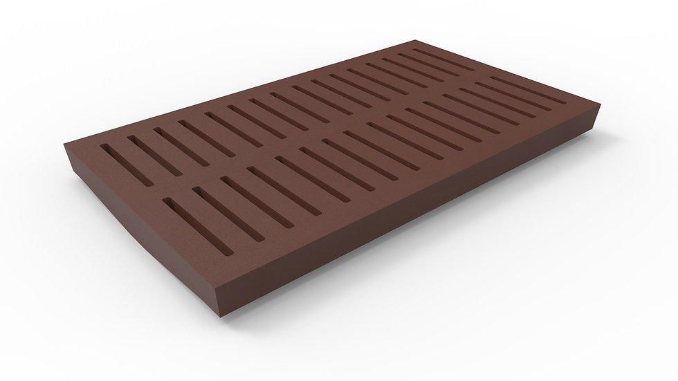 """14"""" wide ADA/Heel Proof cast iron slotted trench drain grate"""