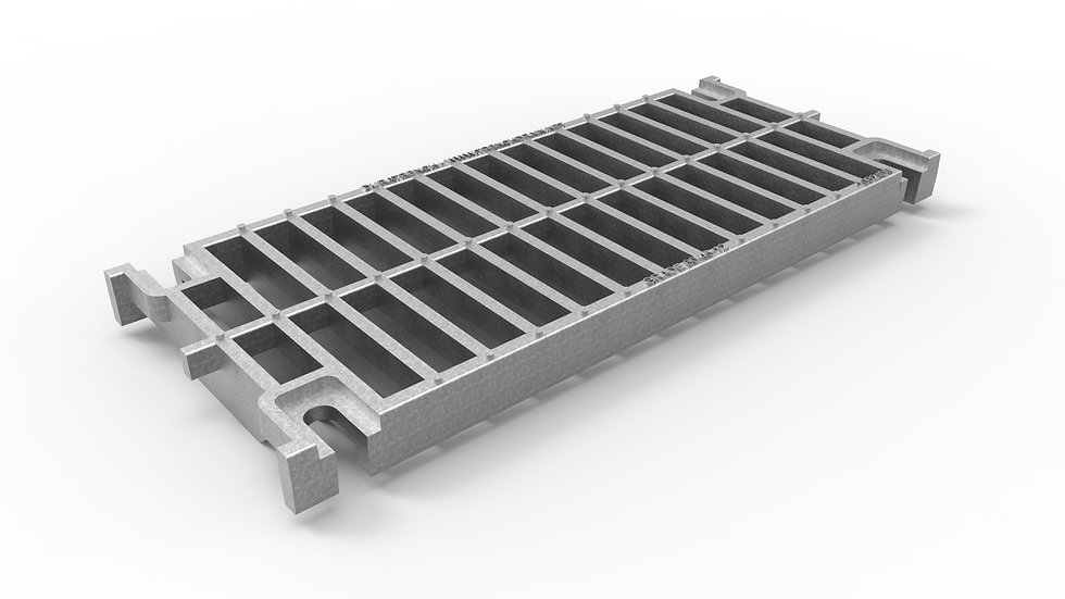 """10"""" wide galvanized iron slotted trench drain grate"""