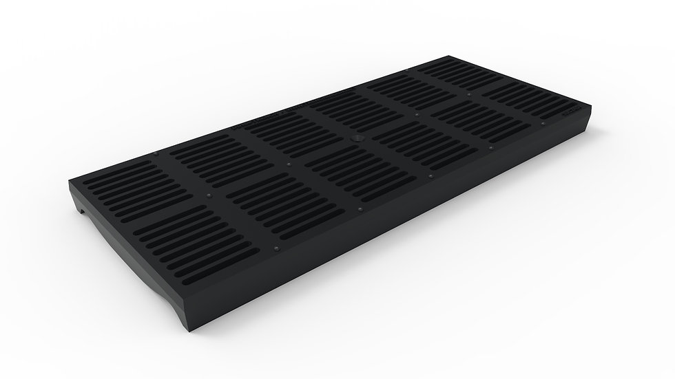 "10"" wide ADA/Heel Proof ductile iron slotted trench drain grate"