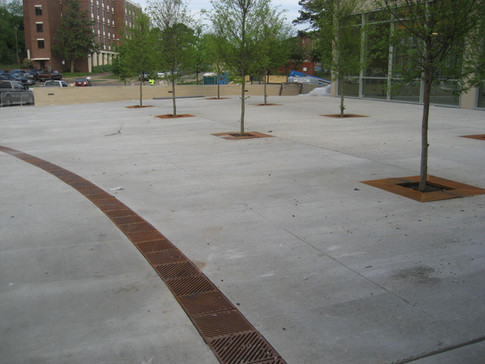 University patio commercial trench drain system