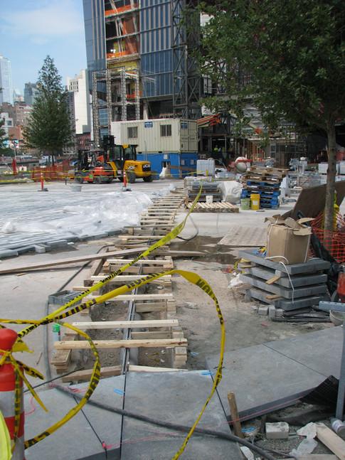 Slot drain installation in NYC park.