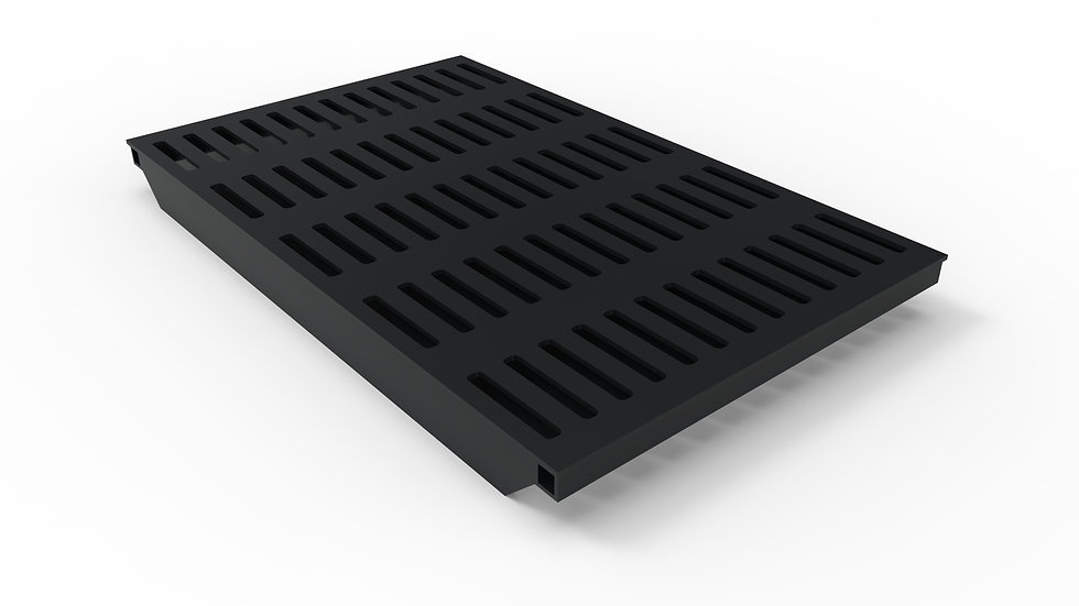 "38"" wide black powder coated steel slotted trench drain grate"