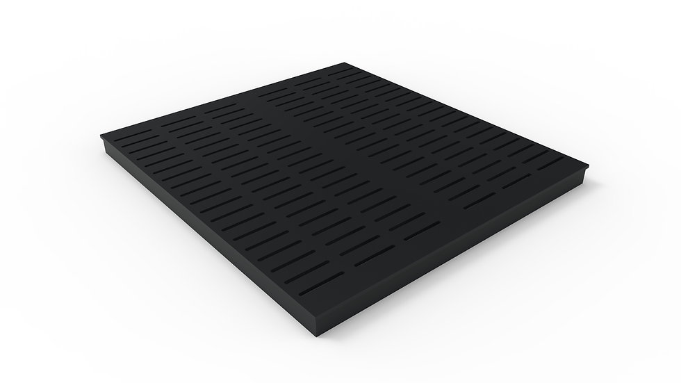 "26"" wide ADA/Heel Proof black powder coated steel slotted trench drain grate"