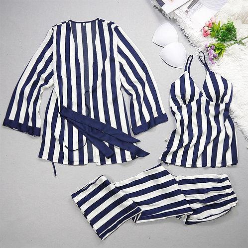 Ladies' pajamas summer leisure sexy ice silk stripes, suspenders,