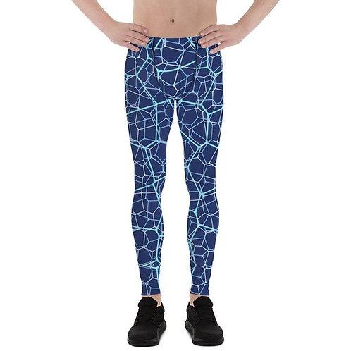 Mens Leggings - Blue Geometric Design Pattern