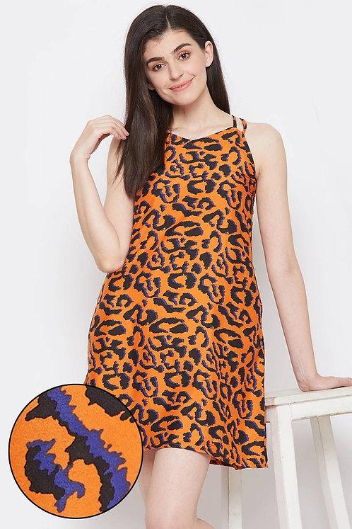 Clovia Animal Print Short Night Dress in Brown - Crepe