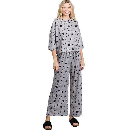 Star Print Cotton Loungewear Set, Grey