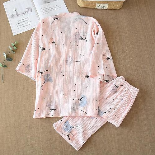 Pure Cotton Yarn Kimono Pajamas V-Neck Printing Plus Size Pijama Mujer