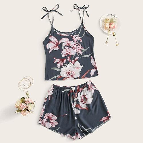 Floral Print Knotted Cami PJ Set