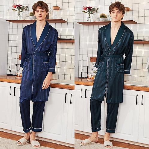 Pyjamas Men Silk Male Pajamas 2 Pieces Sets
