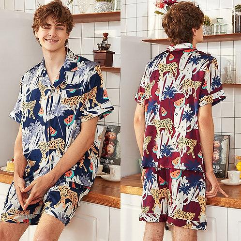 Male Pajamas Satin Mens Sleepwear Silk