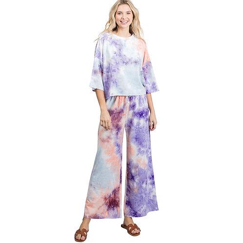 Tie Dye Loungewear Set (Purple/Peach)