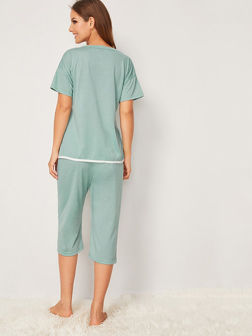 Cat & Letter Print Pajama Set