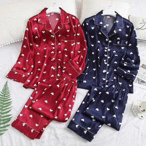 Satin Pajamas Women Fashion Print Sleepwear