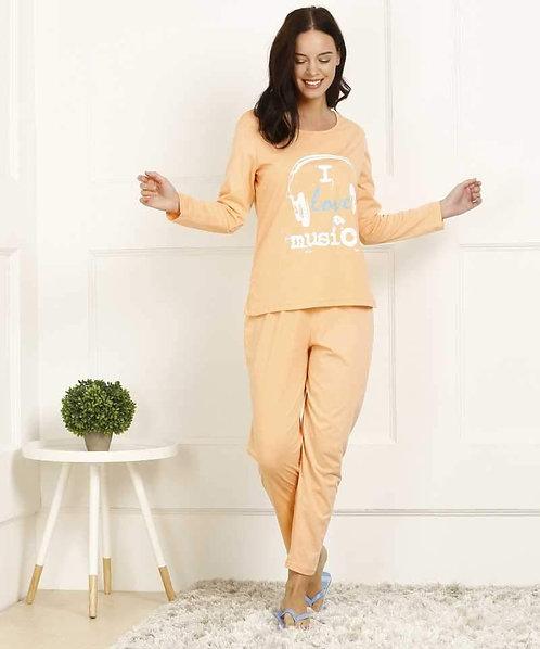 Peach Printed Tshirt & pyjama Night Suit Set
